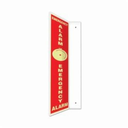 Accuform® PSP714 90D Projection Sign, 24 in H x 4 in W, Glow/Red, 0.10 in Lumi-Glow Plastic