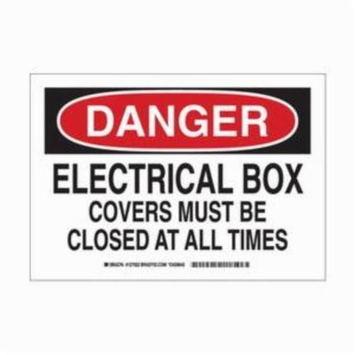 Brady® 127022 Laminated Rectangle Electrical Hazard Sign, 7 in H x 10 in W,  Black/Red on White, Self-Adhesive Mount, B-302 Polyester