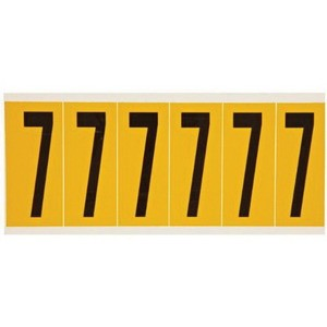 """Brady® Bradylite® Reflective Number Label, 1 in 7"""" Character, 1-1/2 in H x 1 in W, Black on Yellow"""""""