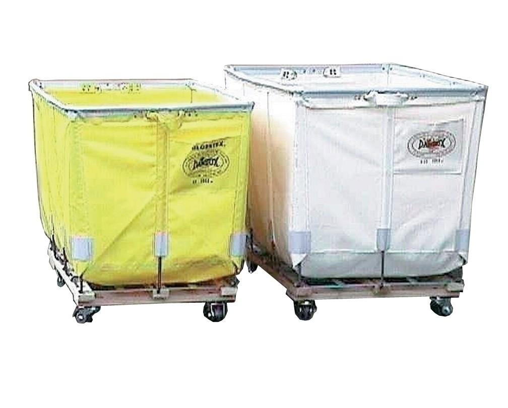 """EXTRA DUTY TRUCK - ALL SWIVEL CASTERS, Caster Configuration: Square, Fabric: Green Glosstex, Bu. Size: 20, Top Size I.D. L x W: 48 x 32"""", Depth: 30"""", Overall Height: 37"""", Caster Size: 3"""""""