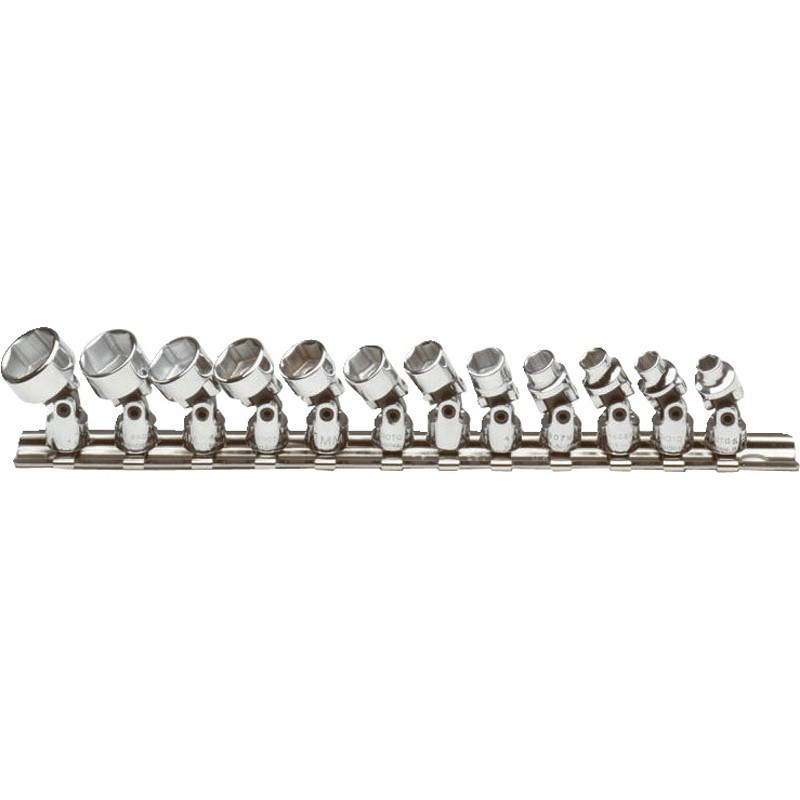 Proto® J47205 Metric Universal Socket Set, 12 Pieces, 1/4 in Drive, 6 Point, Full Polished