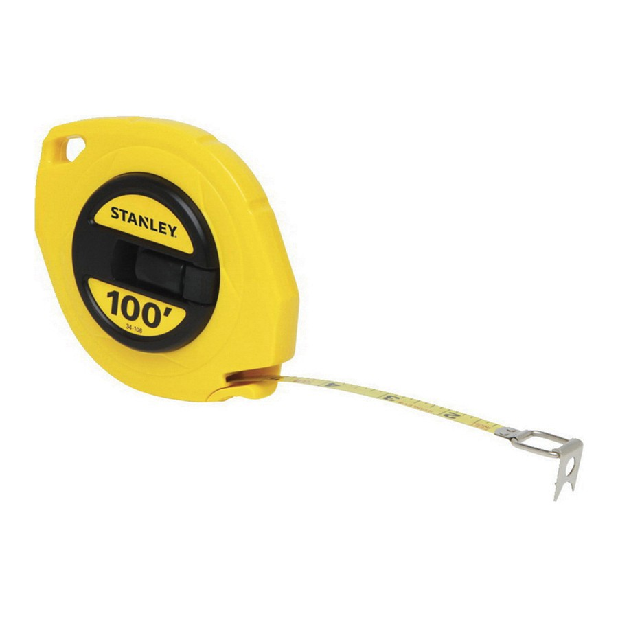 Stanley® 34-106 Long Tape Rule, 3/8 in W x 100 ft L Blade, Polymer Coated Steel, Imperial, 1/8ths