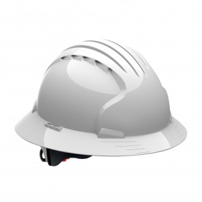 PIP® Evolution® Deluxe 280-EV6161-10 Full Brim Hard Hat, White, HDPE Shell, 6-Point Polyester Suspension And Wheel Ratchet Adjustment