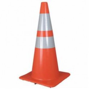 Accuform® FBC225 Reflective Collar Traffic Cone With Reflective Collars, 28 in H, Orange PVC Cone, PVC Collar