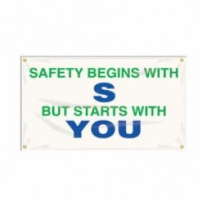 Accuform® MBR402 Safety Banner, SAFETY BEGINS WITH S BUT STARTS WITH YOU, English, 28 in H x 48 in W