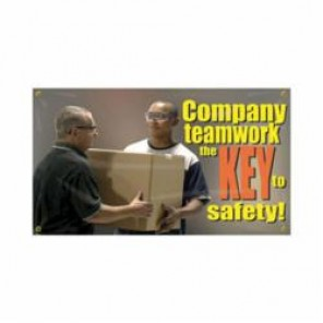 Accuform® MBR404 Safety Banner, COMPANY TEAMWORK THE KEY TO SAFETY!, English, 28 in H x 48 in W