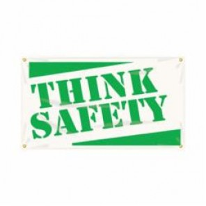 Accuform® MBR412 Safety Banner, THINK SAFETY, English, 28 in H x 48 in W