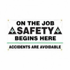 Accuform® MBR422 Safety Banner, ON THE JOB SAFETY BEGINS HERE ACCIDENTS ARE AVOIDABLE, English, 28 in H x 48 in W