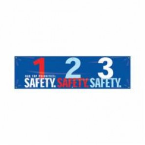 Accuform® MBR951 Safety Banner, OUR TOP PRIORITIES: 1-2-3 SAFETY, English, 28 in H x 96 in W