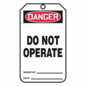 Accuform® MDT112CTM Safety Tag, 5-3/4 in H x 3-1/4 in W, Red/Black on White, 3/8 in Hole, PF-Cardstock
