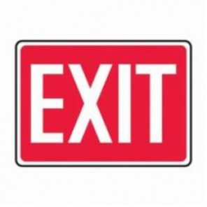 Accuform® MEXT562VS Safety Sign, 7 in H x 10 in W, White/Red, 4 mil Adhesive Vinyl