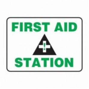Accuform® MFSD410XV First Aid Sign, 14 in H x 20 in W, 6 mil Adhesive Dura-Vinyl