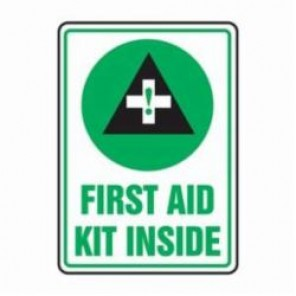 Accuform® MFSD538XV First Aid Sign, 14 in H x 10 in W, 6 mil Adhesive Dura-Vinyl