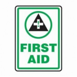 Accuform® MFSD505XV First Aid Sign, 14 in H x 10 in W, 6 mil Adhesive Dura-Vinyl