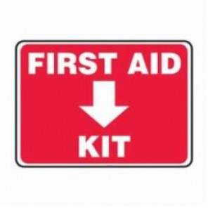 Accuform® MFSD506VS Safety Sign, 7 in H x 10 in W, White/Red, 4 mil Adhesive Vinyl