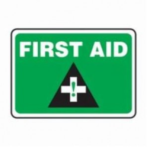 Accuform® MFSD543XV First Aid Sign, 7 in H x 10 in W, 6 mil Adhesive Dura-Vinyl
