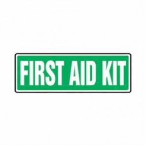 Accuform® MFSD554VS First Aid Sign, 4 in H x 12 in W, 4 mil Adhesive Vinyl