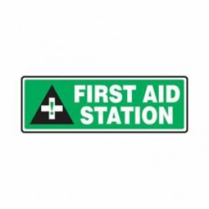 Accuform® MFSD556VS First Aid Sign, 4 in H x 12 in W, 4 mil Adhesive Vinyl