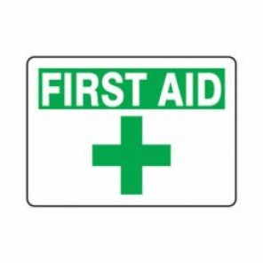 Accuform® MFSD922VA First Aid Sign, 10 in H x 14 in W, 0.04 in Aluminum
