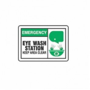 Accuform® LFSD904VSP First Aid Sign, 3-1/2 in H x 5 in W, Black/Green on White, Self-Adhesive Vinyl