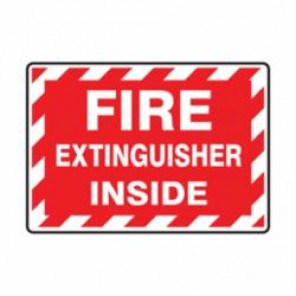 Accuform® LFXG571VSP Moisture Resistant Fire Extinguisher Sign, 3-1/2 in H x 5 in W, White/Red, Surface Mount