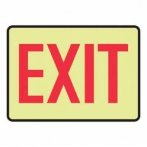 Accuform® MADC501GF Exit Sign, 10 in H x 14 in W, Red on Yellow, Surface Mount, Lumi-Glow™ Flex