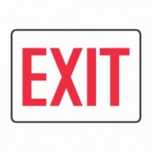 Accuform® MEXT906VS Exit and Entry Sign, 10 in H x 14 in W, Red/White, Adhesive Vinyl