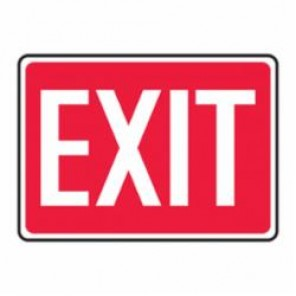 Accuform® MEXT518VS Moisture Resistant Exit Sign, 10 in H x 14 in W, White/Red, Surface Mount, Adhesive Vinyl