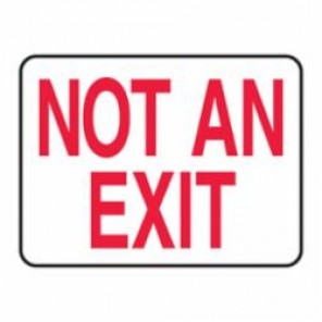 Accuform® MEXT911VA Exit and Entry Sign, 10 in H x 14 in W, Red/White, Aluminum