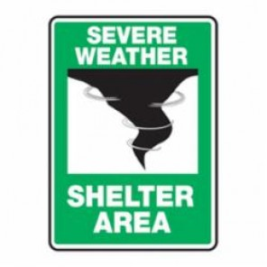 Accuform® MFEX541VA Impact Resistant Severe Weather Safety Sign With Graphic, 10 in H x 7 in W, Aluminum