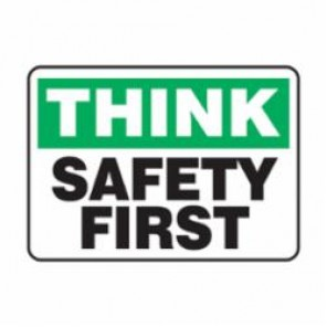 Accuform® MGNF940VS Moisture Resistant Think Safety Sign, 10 in H x 14 in W, Black/Green on White, Surface Mount