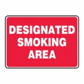 Accuform® MSMK404VA Smoking Area Sign, 7 in H x 10 in W, White on Red, Surface Mount, Aluminum