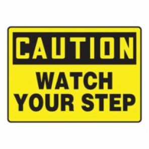 Accuform® MSTF645VS Moisture Resistant Caution Sign, 7 in H x 10 in W, Black on Yellow, Surface Mount