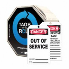 Accuform® TAR118 Tags Roll, DANGER OUT OF SERVICE Legend, PF-Cardstock, Red/Black/White