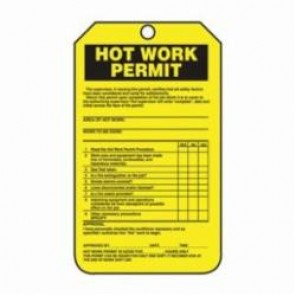 Accuform® TCS361PTP Hot Work Status Tag, 3/8 in Hole, RP-Plastic