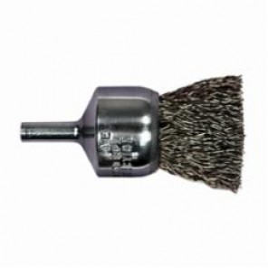 PFERD 82988P Stem Mounted End Brush, 3/4 in Dia, 0.01 in Stainless Steel Crimped Wire, 1 in Trim 5/Box