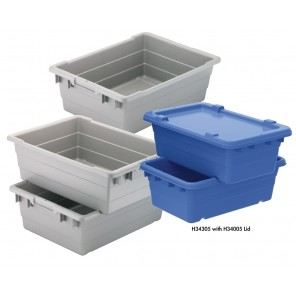 "CROSS-STACK AKRO TUB, Cross Stack Tub, Gray, Top O.D. L x W x H: 17.25 x 11 x 8"", Cap. (Cu. Ft.): 0.52, Cap. (gals.): 3.85"
