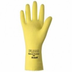 Ansell Unsupported Latex Gloves, 9, Natural Latex, Flock Lined, Yellow
