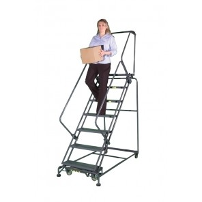 "50° SLOPE WALK DOWN LADDER, Step Width: 16"", Tread: Abrasive Mat, No. of Steps: 5, Base W x L: 24 X 50"", Top Step Height: 50"", Overall Height: 83"""