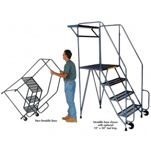 "TILT & ROLL LADDERS, Base: Non-straddle, Tread: Serrated Grating, No. Steps: 3, Top Step Height: 30"", Overall Height: 63"", Base W x L: 30 x 40"""