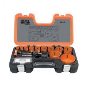 Bahco® 862017 Professional Hole Saw Set, 17 Pieces, For Use With 9/16 to 13/16 in and 1-1/4 to 6 in Hole Saws