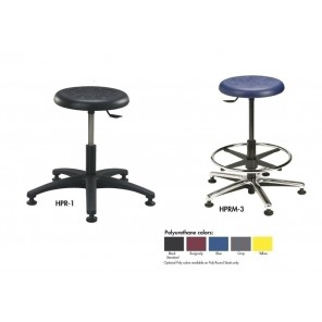 "ROUND STOOLS - POLYURETHANE SEAT, Seat Height Range: 18-1/2 to 25-1/4"", Polyurethane Black Standard, Base Dia.: 25"", Base Type: Cast Aluminum, Footring: Yes"