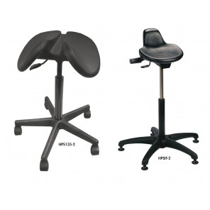 "SADDLE STOOL AND SIT STAND, Model: Sit Stand, Seat Black Standard, Seat Height Range: 21-1/2 to 31-1/2"", Base Dia.: 27"", Base Type: Plastic"