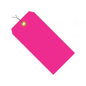 """Box Partners G12073E 5-3/4 x 2-7/8"""" Fluorescent Pink, Pre-Wired, 13 Pt. Shipping Tags, 1,000/Case"""