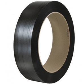 "PS1226 - 1/2"" X .025 X 7200ft Black 16 x 6"" Core Hand Grade Polypropylene Strapping - Embossed"