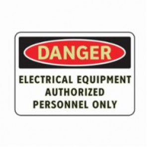 Brady® 102478 3-In-1 Danger Sign, 10 in W x 7 in H, Red/Black on White, Glow-In-The-Dark Aluminum, DANGER ELECTRICAL EQUIPMENT AUTHORIZED PERSONNEL ONLY