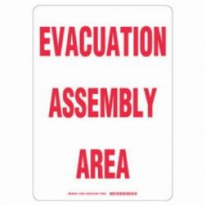 Brady® 103591 Evacuation Sign, 14 in H x 10 in W, Red on White, B-401 High Impact Polystyrene