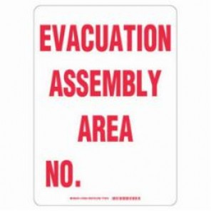 Brady® 103593 Evacuation Sign, 14 in H x 10 in W, Red on White, B-401 High Impact Polystyrene
