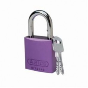 Brady® 104572 Lightweight Safety Padlock, Keyed Different Key, 1/4 in Shackle, LOTO-10 Solid Aluminum Body, Purple, 6-Pin Cylindrical Locking
