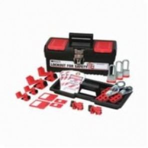 Brady® 105965 Filled Portable Lockout Kit With (3) Keyed-Alike Steel Padlocks, 17 Pieces, Black on Red, For Use With Electrical Lockout